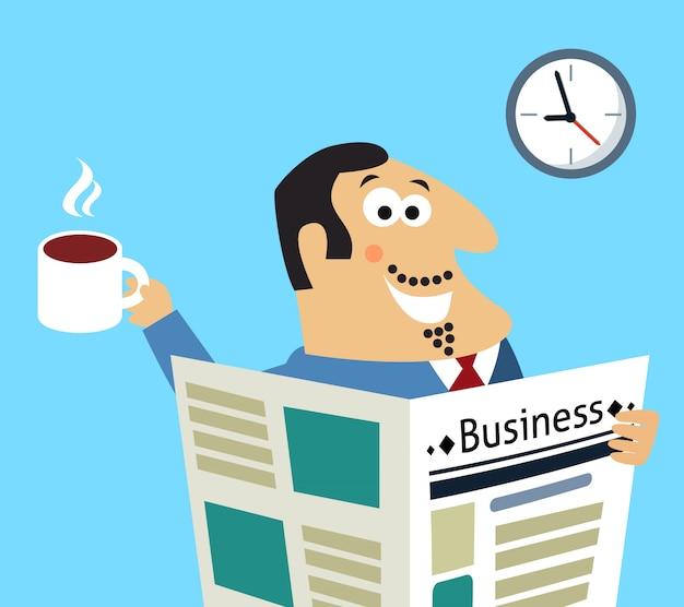 Jornal da manhã de negócios e café