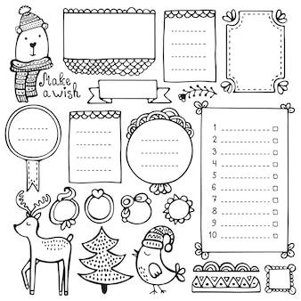 Jornal de bala e elementos de mão desenhada de natal para notebook, diário e planejador. quadros doodle isolados