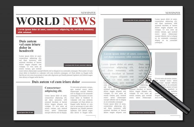 Jornal diário, notícias promocionais de negócios