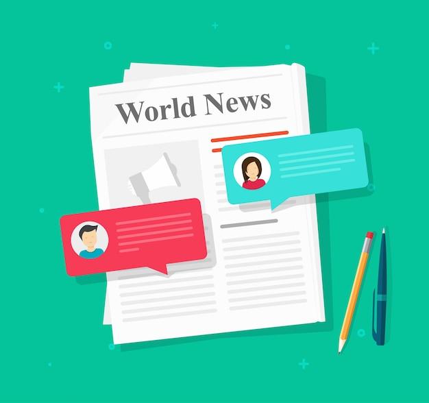 Jornal discussão de notícias bolhas do discurso mensagens de bate-papo