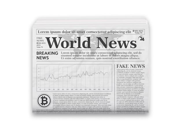 Jornal. layout de jornal realista em preto e branco.