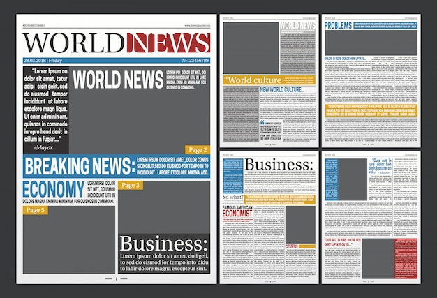 Jornal manchetes modelo realista cartaz