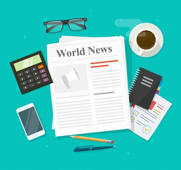 Jornal ou jornal diário de notícias da imprensa dobrada revista na mesa da mesa de escritório de negócios