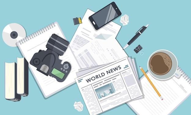 Jornalismo ilustração da televisão na mídia de massa