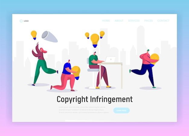 Jornalista online escreve copyright criativo para página inicial de artigo social.