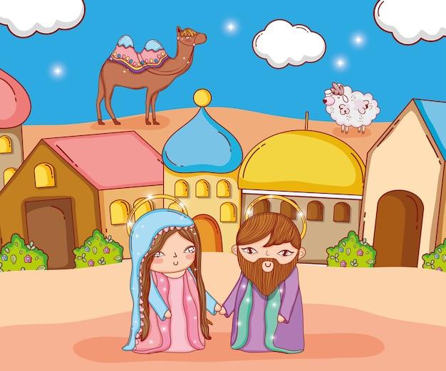 José e maria com camelo e ovelhas na cidade