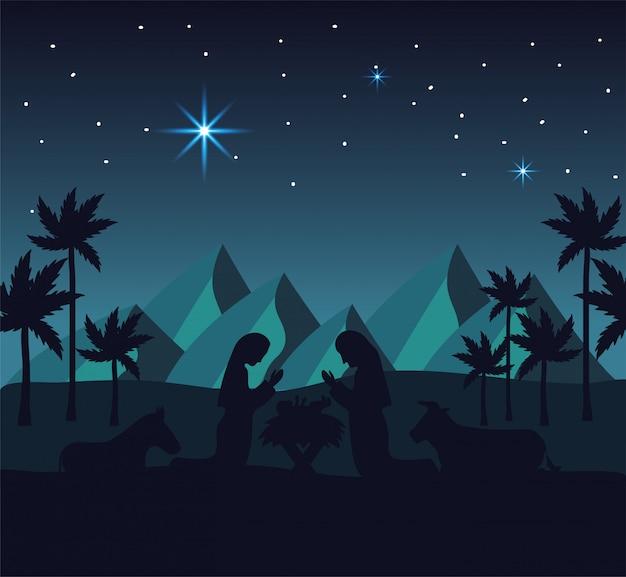 José e maria com jesus no deserto das montanhas