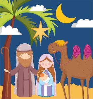 Joseph e mary carregando bebê e camelo no deserto