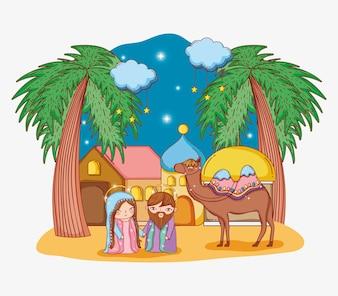 Joseph e mary com camelo na cidade e nuvens estrelas