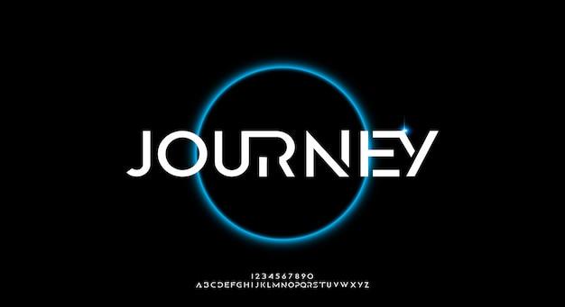 Journey, uma fonte abstrata futurista alfabeto com tema de tecnologia. design de tipografia minimalista moderno premium