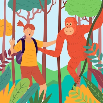 Jovem acariciando um macaco