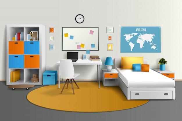Jovem adolescente quarto design de interiores com mesa de computador de cama