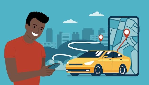 Jovem afro usa uma locadora de automóveis ou serviço de táxi em seu smartphone. ilustração vetorial.