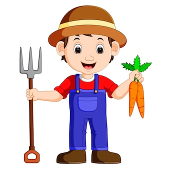 Jovem agricultor de desenhos animados segurando ancinho
