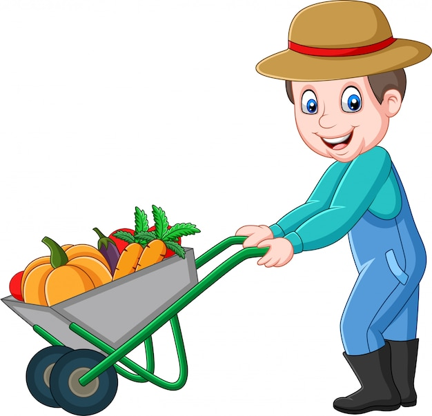 Jovem agricultor de desenhos animados