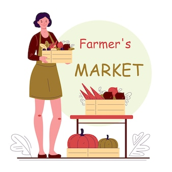 Jovem agricultora jardineira com caixas de frutas e legumes frescos mercado dos fazendeiros