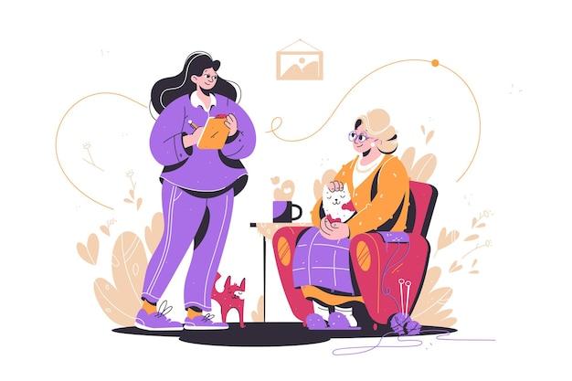 Jovem ajudando menina idosa de ilustração vetorial feminina a planejar compras de alimentos para mulheres idosas