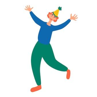 Jovem alegre dança feliz em uma festa. personagem masculino na festa ou feriado. dia da mentira. ilustração em vetor plana feliz festa de aniversário.