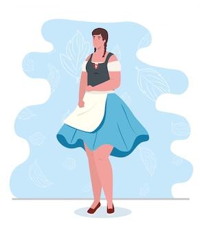 Jovem alemã com vestido nacional, mulher com traje tradicional da baviera ilustração vetorial