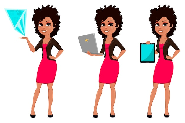 Jovem, americano africano, mulher negócio
