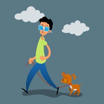 Jovem andando com vetor de desenhos animados de cachorro