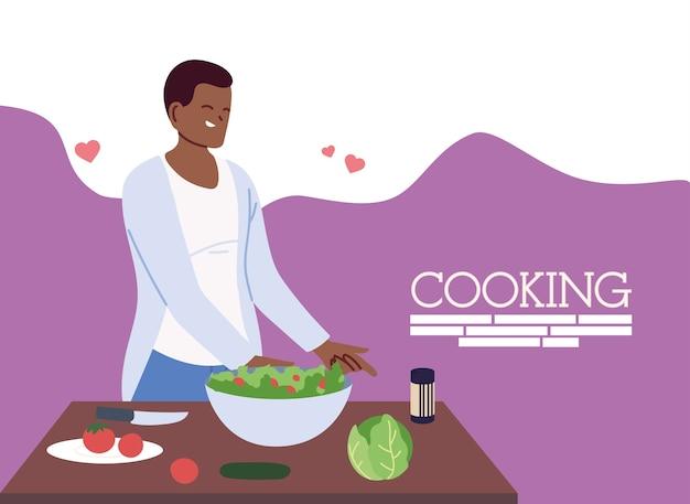 Jovem apaixonado preparando um projeto de ilustração de comida saudável