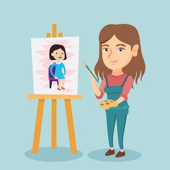 Jovem artista caucasiana pintando um retrato.