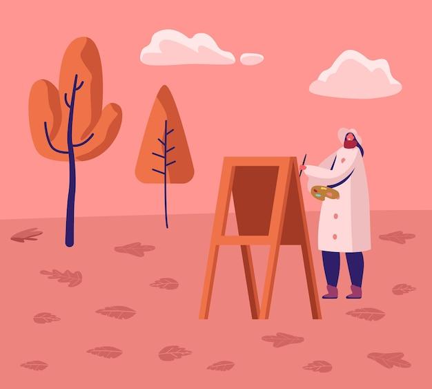 Jovem artista vestindo casaco quente trabalho em plein air no parque da cidade, no outono, pintura em cavalete no fundo de bela paisagem. ilustração plana dos desenhos animados