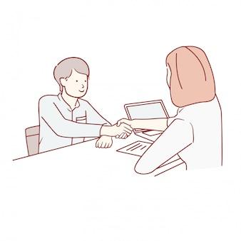 Jovem assinando contratos e aperto de mão com um gerente