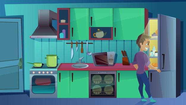 Jovem assistindo dentro da geladeira na cozinha