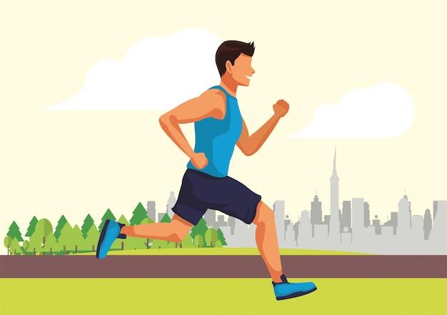 Jovem atleta correndo no personagem de avatar do parque