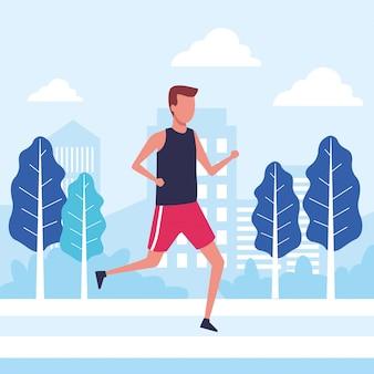 Jovem atleta correndo sobre o personagem de avatar de cidade