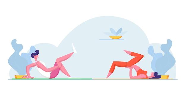 Jovem atleta, homem e mulher, personagens em roupas esportivas, fazendo exercícios físicos ou aeróbicos em casa