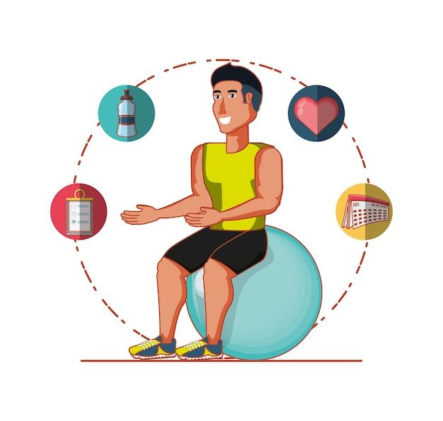 Jovem atleta treinamento esporte com ícones de estilo de vida saudável