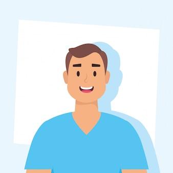Jovem avatar personagem ícone vector ilustração design