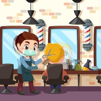 Jovem barbeiro profissional cortando o cabelo de uma cliente
