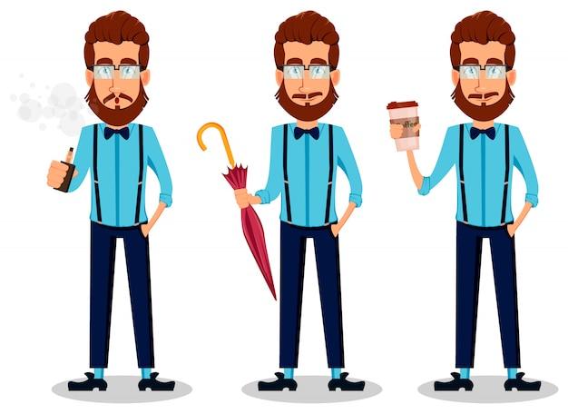 Jovem, barbudo, hipster, homem, em, óculos