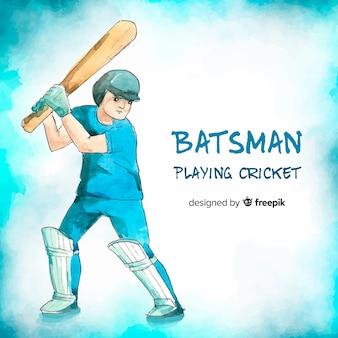 Jovem batedor jogando críquete em estilo aquarela