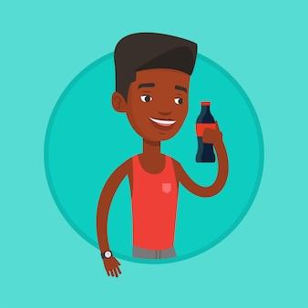 Jovem bebendo ilustração vetorial de refrigerante.