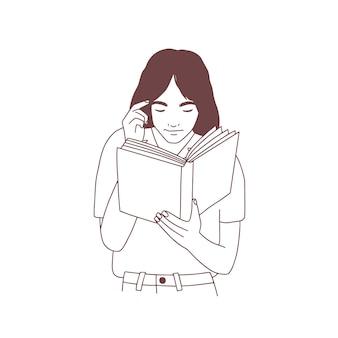 Jovem bonita lendo um livro ou se preparando para o exame. retrato desenhado de mão de menina esperta, aluno ou aluno com mão de livro desenhado sobre fundo branco. ilustração vetorial monocromática realista.