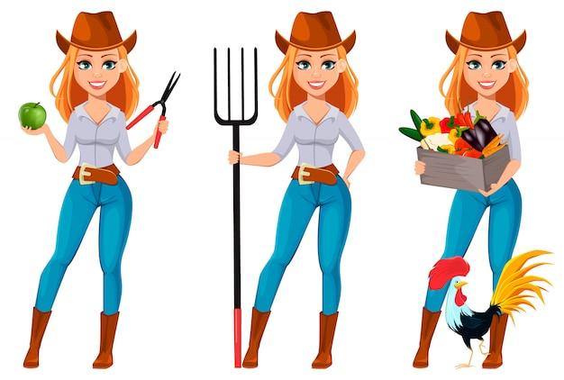 Jovem, bonito, agricultor, mulher, em, chapéu vaqueiro