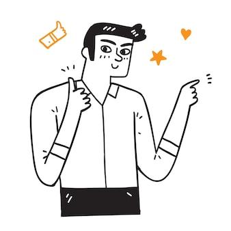 Jovem bonito com camisa casual, aprovando um gesto positivo com a mão, polegares para cima sorrindo e feliz pelo sucesso. gesto do vencedor.