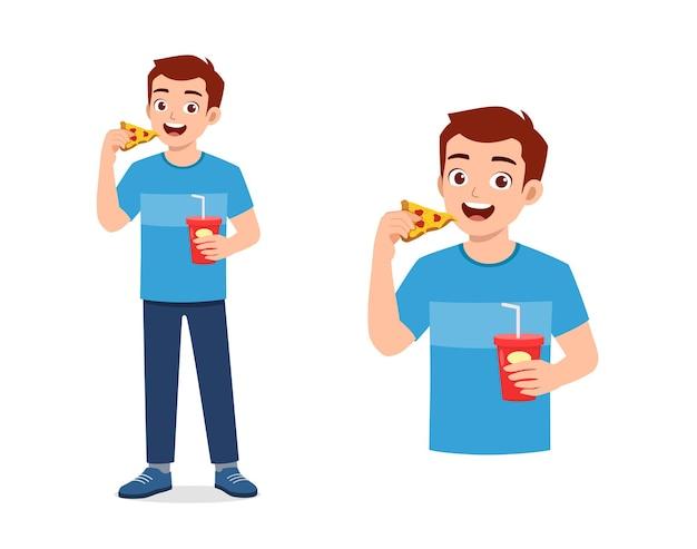 Jovem bonito comer fast food pouco saudável