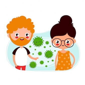 Jovem bonito e mulher passando coronavírus por transmissão aérea. ilustração de personagens de desenhos animados plana. isolado no fundo branco
