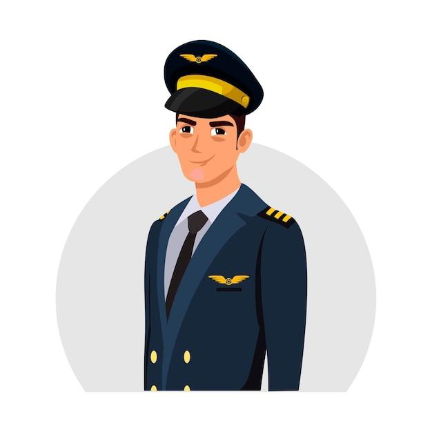 Jovem bonito e simpático personagem de piloto de avião usando chapéu e avatar de uniforme