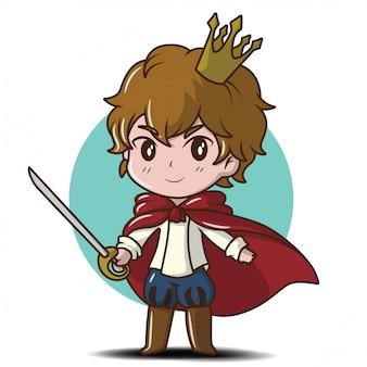 Jovem bonito príncipe dos desenhos animados