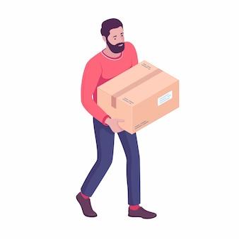 Jovem branco caucasiano carregando caixa de papelão.