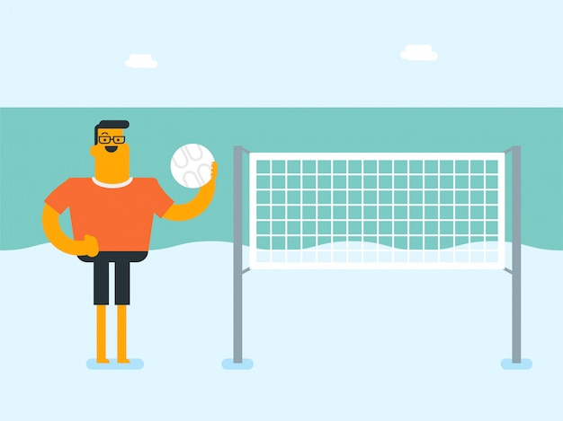 Jovem branco caucasiano jogando vôlei de praia
