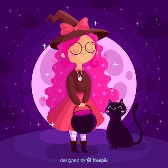 Jovem bruxa de halloween com gato preto