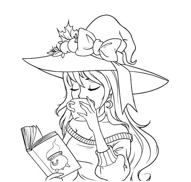 Jovem bruxa está bebendo café e lendo um livro. entregue a ilustração de contorno desenhada para colorir livro, jogos infantis, cartas, tatuagem, adesivo, camiseta etc. isolado no fundo branco.